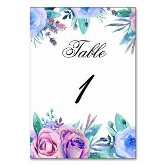 Número floral de la tabla del boda. Flores Tarjeta