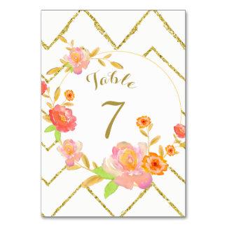 Número floral rosado de la tabla del boda de tarjeta
