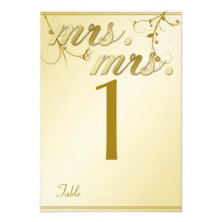 Número gay floral de la tabla del boda del oro ele anuncio