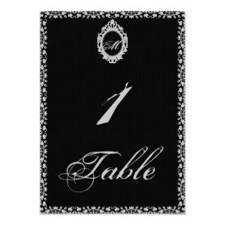 Número gótico de la tabla del monograma del marco invitación 12,7 x 17,8 cm