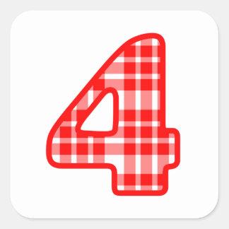 Número modelado tela escocesa roja 4 cuatro A15 Pegatina Cuadrada