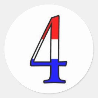 Número rojo, blanco y azul cuatro pegatina redonda