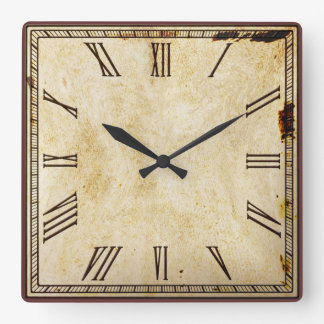 Número romano del cuadrado rústico de la aparienci reloj cuadrado