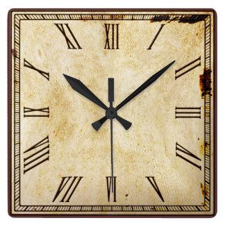 Número romano del cuadrado rústico de la reloj cuadrado