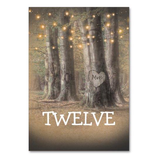Número rústico de la tabla de las luces del árbol tarjeta