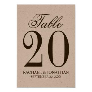 Número rústico de la tabla del boda del vintage invitación 8,9 x 12,7 cm