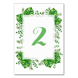 Número tropical de la tabla del boda de la tarjeta