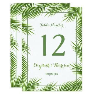 Número tropical de la tabla del boda de playa de invitación 12,7 x 17,8 cm
