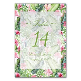 Número tropical de la tabla del boda de playa del tarjeta