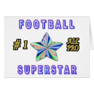 Número uno toda la superestrella del fútbol profes tarjeta de felicitación
