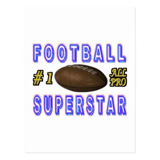 Número uno toda la superestrella del fútbol profes tarjeta postal