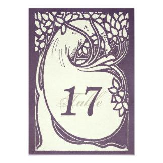 Número violeta y de marfil del art déco del pavo invitación 11,4 x 15,8 cm