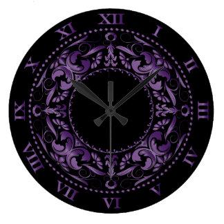 Números afiligranados y romanos Amethyst Reloj Redondo Grande