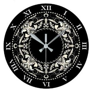 Números afiligranados y romanos negros y blancos reloj redondo grande