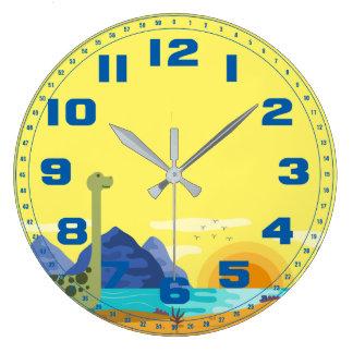 Números altos del azul de cielo del amarillo del reloj redondo grande