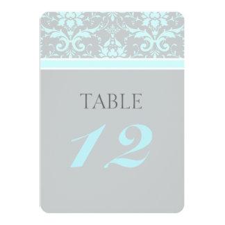 Números azules elegantes de la tabla del boda del invitación 12,7 x 17,8 cm