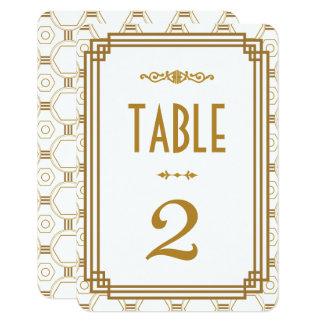 Números blancos de la tabla del boda del art déco invitación 8,9 x 12,7 cm