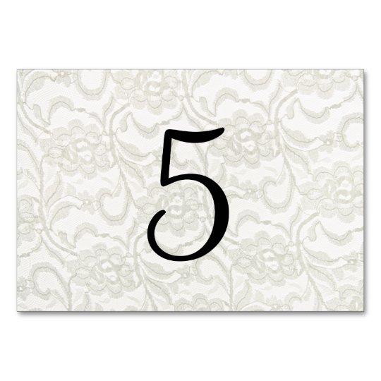 Números blancos de la tabla del boda del cordón tarjeta