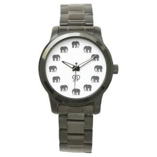 Números blancos y negros del elefante del negro reloj de pulsera