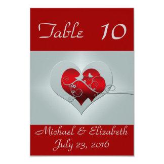 Números de la tabla de la bodas de plata roja/ invitación 8,9 x 12,7 cm