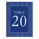 Números de la tabla de las telas a rayas (azules m postales
