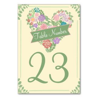 Números de la tabla del boda de la flor del jardín