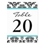 Números de la tabla del damasco (negro/trullo/blan tarjeta postal