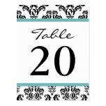 Números de la tabla del damasco (negro/turquesa/bl postal