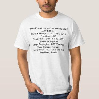 Números de teléfono de Imortant Camiseta