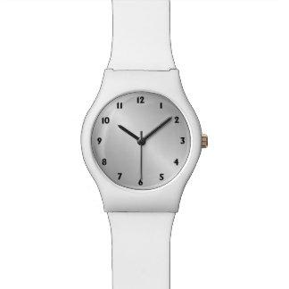 Números del negro de la mirada de la plata del reloj de pulsera
