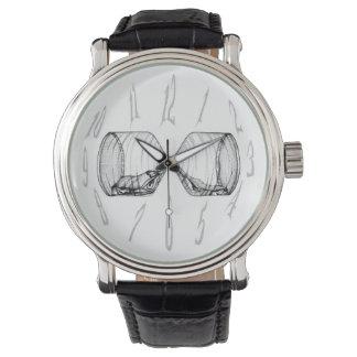 Números del reloj y reloj de arena vertical que