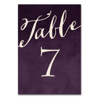 Números elegantes púrpuras de la tabla de la