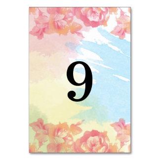 Números en colores pastel de la tabla del ramo de