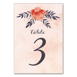 Números florales de la tabla de la acuarela