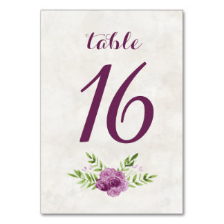 Números florales de la tabla de la acuarela tarjeta
