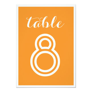 Números minimalistas modernos anaranjados de la invitación 12,7 x 17,8 cm