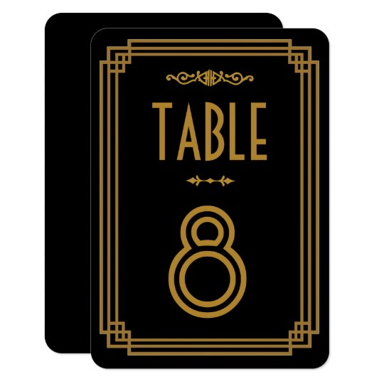 Números negros de la tabla del boda del art déco invitación 8,9 x 12,7 cm