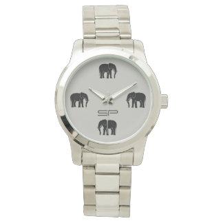 Números negros del elefante del monograma en la reloj de pulsera