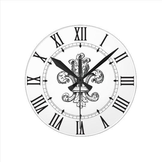 Números romanos de la flor de lis reloj redondo mediano