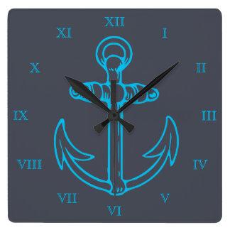 Números romanos nave o barco del ancla azul reloj cuadrado