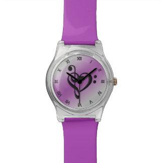 Números romanos púrpuras del corazón del Clef de Reloj De Pulsera