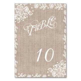 Números rústicos de la tabla del boda de la