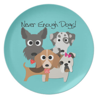 Nunca bastantes perros plato de comida