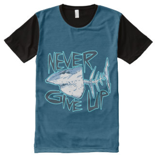 nunca dé para arriba el gran tiburón blanco camisetas con estampado integral