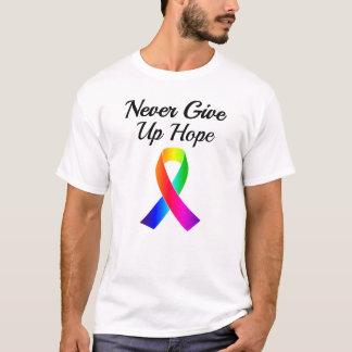 Nunca dé para arriba la camiseta de los hombres de