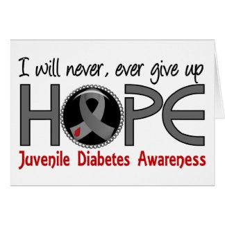 Nunca dé para arriba la diabetes juvenil de la esp tarjeta de felicitación