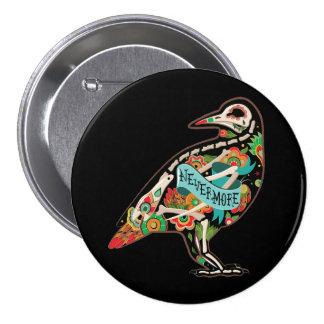 Nunca más cuervo del cráneo del azúcar chapa redonda de 7 cm