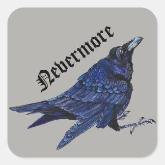Nunca más cuervo pegatina cuadrada