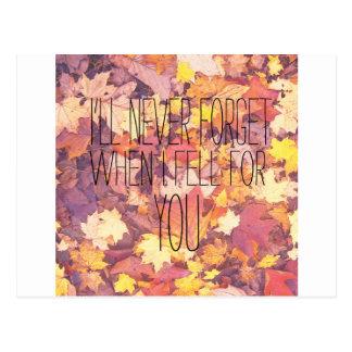 Nunca olvidaré cuando me caí para usted otoño postal