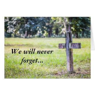 Nunca olvidaremos la tarjeta de condolencia